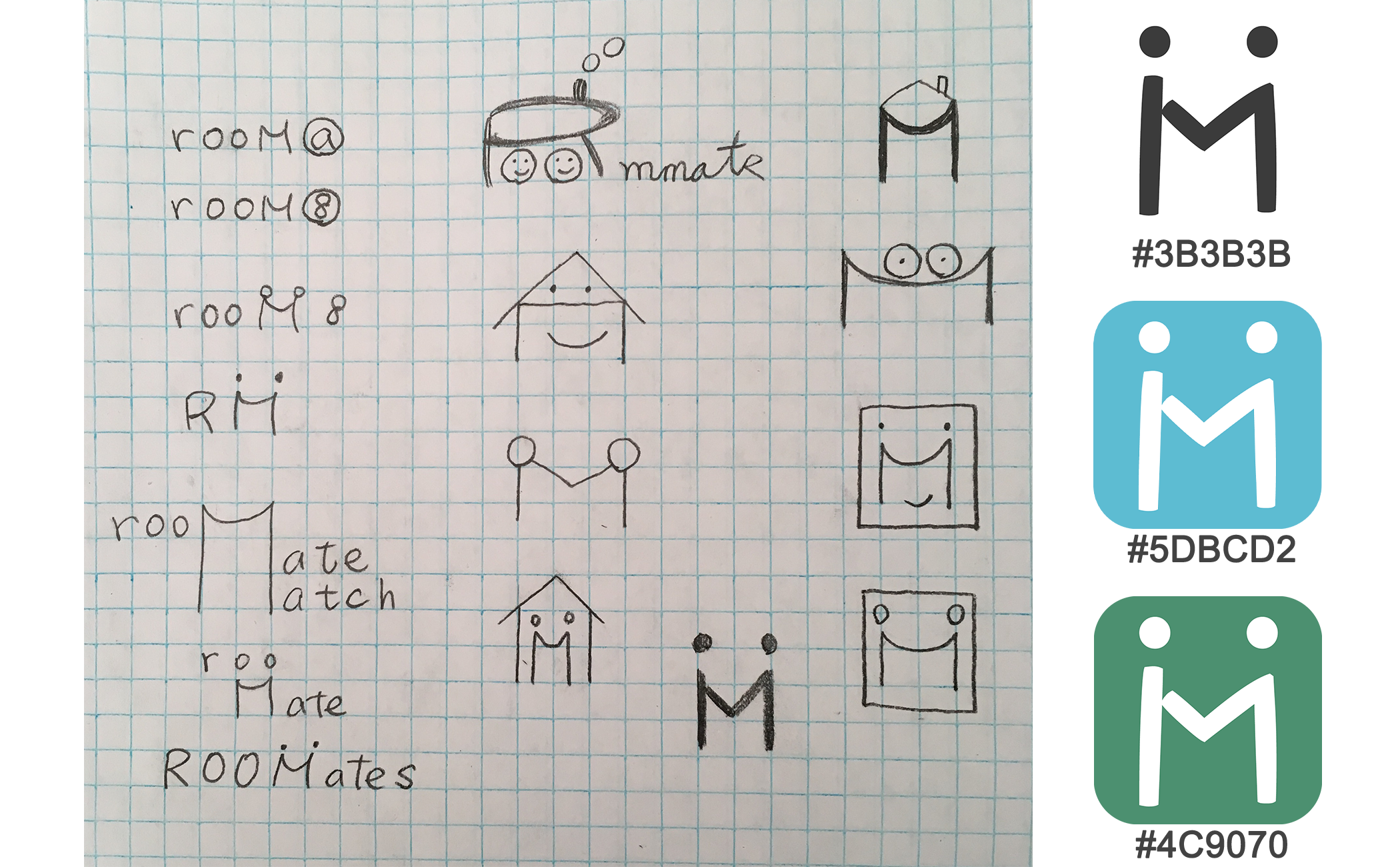 the sketches of the logo and the color palette